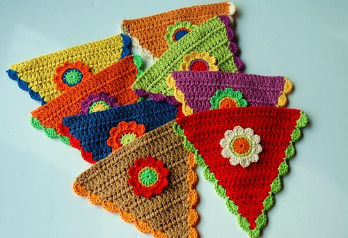 Flags for crochet garland