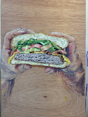 Burger Time (Brightstreaks) Tags: wood art cheese painting tomato avocado bacon hands acrylic hamburger