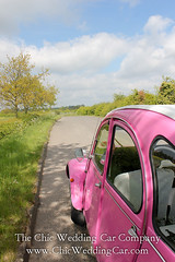 Rosie in the country-1 (magicalnights) Tags: pink wedding car derbyshire 2cv chic weddingcar shabbychicwedding sexyweddingcar 2cvweddingcar derbyweddingcars