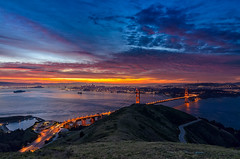 A New Day Relealed (Paul Porter Photography) Tags: ocean sanfrancisco morning clouds sunrise dawn bay march nikon pacific pacificocean goldengatebridge goldengate citylights baybridge sanfranciscobayarea bluehour goodmorning goldengatenationalrecreationarea hawkhill sanfranciscooaklandbaybridge 2013 slackerridge d7000
