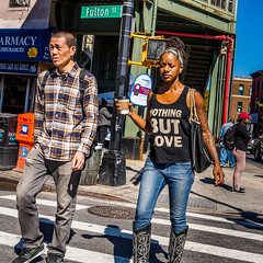 NothingButLove.jpg (Klaus Ressmann) Tags: nyc autumn tattoo brooklyn asian couple african candid young streetphotography olympus system unposed klaus omd em1 peoplestreet ressmann omdem1 flcpeop klausressmann olympusomdsystem