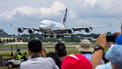 Airbus A380 coming in for landing after flying display at the Farnborough airport (dennis.dieleman) Tags: show people test airplane flying airport display aircraft air crowd landing airbus a380 approach runway farnborough 380 vliegtuig vliegveld lavion landingsbaan fia14