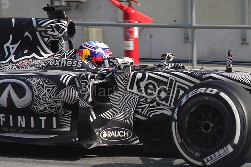 Daniel Ricciardo in his Red Bull in Formula One Winter Testing 2015