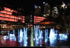 Tumbalong Park @ Night, Sydney, Australia (JH_1982) Tags: park new pink blue light red color colour luz water fountain colors wales night umbrella dark lights noche glow colours darkness purple nacht lumire south sydney australia illuminated nsw glowing australien fountains umbrellas nuit notte dunkel beleuchtung australie     beleuchtet leuchten  tumbalong        sdney