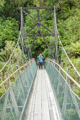 Cameras at 20 paces (Scottmh) Tags: new travel bridge pacific suspension christine glacier zealand franz josef wife duel