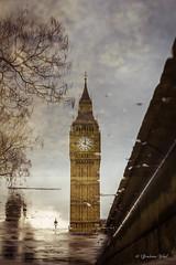 Big Ben reflection (grahamvphoto) Tags: england reflection london clock water westminster puddle big time ben