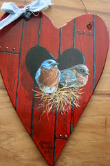 Bluebirds hand painted wood heart (sherrylpaintz) Tags: original love nature floral barn painting hearts design colorful artist heart natural folk ooak decorative wildlife birdhouse style lovers nails romantic chic hay siding custom redbarn acrylicpainting valentinesday bluebirds whimsical treasures realism primitive dcor realistic easternbluebirds art artist style hand wildlife folk birdhousepainting primitive painted chic shabby decorative sherrylpaintz decorating