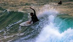 surfing - Hertzelia beach (Lior. L) Tags: travel winter light sea motion green beach nature water silhouette sport canon golden israel amazing movemen