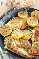 Roasted Garlic Lemon Chicken (Thinkarete) Tags: summer food chicken cooking vertical bread recipe wooden juicy yummy lemon rustic bbq fresh meat barbecue baguette meal pan organic plaid grilled fried marinade oregano freshness whitebread teatowel fillet chickenbreast marinate ironpan