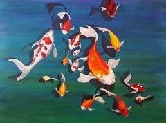 Kois (artbyreni) Tags: painting tiere wasser acrylic fishes acryl fische kois acrylmalerei