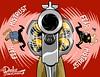 0716 rushin'roulette cartoon (DSL art and photos) Tags: black gun killing fear police pistol hate shooting revolver editorialcartoon mistrust donlee blacklivesmatter bluelivesmatter