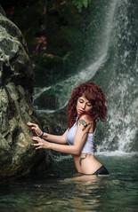 Wet! (josejuanpantoja) Tags: waterfall green nature naturaleza cascada agua water portrait retrato sexy sensual stone piedra beauty mujer chica girl woman female young summer verano femenino