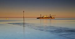 Offshore  2 , Golden light (Through Bri`s Lens) Tags: sussex rampionwindfarm worthing beach sunsetbeachskyseatidesouth beacon barge crane brianspicer canon5dmk3 canon24105f4l