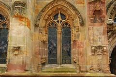 Arched Window at Rosslyn Chapel, Edinburgh (lindawood2414) Tags: rosslyn chapel window arch glass stone gargoyle sculpture carvings ornate