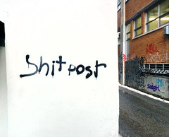 Shit post (Exile on Ontario St) Tags: montreal streetart graffiti plateau ruelle montral street art urbain urban wall murals mural walls painting plateaumontroyal alleys alley ruelles alleyway alleyways paint written words shitpost shit post