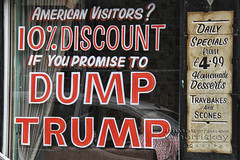 Trump That Offer ! (James Whorriskey (Delbert Jackson)) Tags: jameswhorriskey jameswhoriskey delbertjackson derry londonderry uk ulster ireland northernireland photo photograph photographer picture aroundus impressionsexpressions catchycolors jameswhorriskeyphotography london colour art print grafitti graffiti cafe donald trump bill clinton president usa american tourists offer deal dumptrump dump sign waterloo shipquay place guildhall square soil