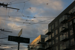 New City (Blinking Charlie) Tags: eunionstreet pikepine capitolhill seattle washingtonstate usa 2016 canonpowershots110 blinkingcharlie clouds sky powerlines streetsign sunset apartmentbuilding