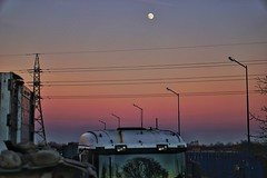 Sunset (delyanangelov) Tags: winter reflection bulgaria plovdiv lamps moon scania colorful sunset