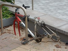 A Bike With No Wheels (mikecogh) Tags: glenelg bicycle frame chain locked abandoned thieves stolen robbery
