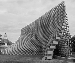 Serpentine Gallery The Serpentine Pavilion - Bjarke Ingels (cocabeenslinky) Tags: west westend end london city capital england united kingdom uk photos photography art panasonic lumix dmcg6 cocabeenslinky july 2016 blackandwhite blackwhite black white sculpture unzipped wall structure green fibreglass danish threedimensional space 3d boxes stacked hyde park coffee shop seating sit down bricks see through solid void serpentineuk