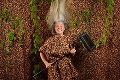 The Wild Woman of West Wittering (Apionid) Tags: leopardskin wild woman carpetsweeper selfportrait werehere hereios nikond7000 366the2016edition 3662016 day235366 22aug16 outrageouslies