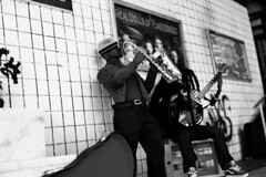 Plasticwood Metro Subway - Musicians - BW (Real Dolls of Plastic Wood) Tags: sax music ken action figure homme barbie diorama urban street photography dolls toys 16 scale guitar