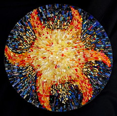 Here Comes the Sun (mazztroop) Tags: mosaic sun smalti shards glass spinning 3d yellow blue star celestial