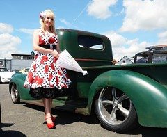 Jackie_7397 (Fast an' Bulbous) Tags: blonde girl woman hot sexy car truck vehicle automobile hotrod santa pod dragstalgia dress petticoat high heels stilettos hotty chick babe model mature milf pinup nikon d7100 gimp custom