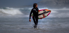 Fistra 2 (paullangton) Tags: surf sea sand surfboard sky blue wave water sun wet wetsuit