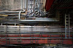 Wiring (aleadam) Tags: wire wiring tube station bakerstreet bakerst wall confusion chaos electric cable brick
