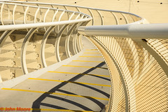 Metro Parasol walkway (Juanito Moore ( John Moore )) Tags: metro parasol sevilla andaluca espaa walkway air soy blue railings metal yellow lines shadows outdoors high elevated safety centre city juanitomoore