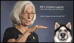 Lower classes always do (Ennya2000) Tags: taxfree christinelagarde politics dog husky imfchief un people woman
