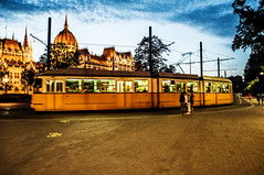 budapest tram (my lala) Tags: budapest tram hungary evening dusk light yellow parliament night nikon d90 passing