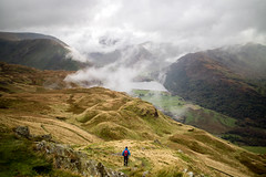 Descending Angletarn Pikes. (Tall Guy) Tags: tallguy uk lakedistrict cumbria angletarnpikes brotherswater mist clouds nationalpark hiking trekking walking fells mountains lakes