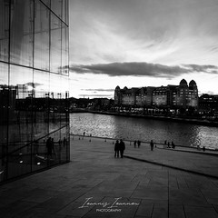 Oslo Opera House (Ioannis Ioannou Photography) Tags: lines sunset street reflections scandinavia facade clouds sky havnelageret sea norway seascape streetphotography oslo northsea ioannisioannouphotography travel glass opera monochrome architecture oslooperahouse black house photography white bw blackwhite blackandwhite operahusetoslo oslohavnelager