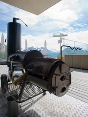 smoker's section (Riex) Tags: oklahoma bbq smoker grill deck terrasse alpine lounge patio outdoor alps alpes montagnes mountains muottasmuragl grisons graubnden engadine switzerland suisse schweiz svizzera a900 minolta amount minoltaamount 20mm af