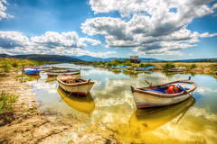 Bafa,Turkey (Nejdet Duzen) Tags: trip travel lake reflection nature turkey landscape boat cloudy outdoor trkiye sandal gl yansma turkei bafa seyahat doa bulutlu bafagl bafalake
