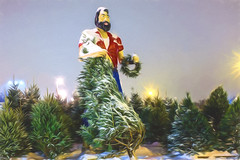 Paul Bunyan over Winter Pines - Artistic (buffcleb) Tags: christmas trees winter sculpture usa painterly man male history minnesota statue america forest vintage painting giant beard paul outdoors wooden carved buffalo memorial unitedstates symbol antique character country bangor logging folklore christmastree canadian legendary retro story evergreen pines american hero axe strong worker strength tall logger paulbunyan legend cutter tale lumberjack isolated myth lumber fable woodsman forester fictional westernnewyork wny bunyan mythical tonawanda woodcutter vitality crystalbeach westernny lumberman christmasseason christmasscene crystalbeachamusementpark bordeleau legendaryfigure