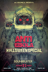 ANTI EBOLA HALLOWEEN SPECIAL (movingclays) Tags: party house love halloween colors festival rock dance flyer model artist dj peace graphic nightclub indie speaker electro techno beast hiphop guest breakdance psd drumbass template dubstep