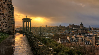 Snowy Sunset from Calton Hill, Edinburgh