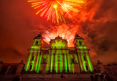 Festival Navidenio - Guatemala City Dec 2014 (janusz l) Tags: show christmas city light red green church festival night navidad long exposure december cathedral fireworks guatemala metropolitan janusz leszczynski navidenio 051139 12192014