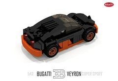 Bugatti Veyron Super Sport (1:42) (lego911) Tags: world auto records car sport vw volkswagen model break lego lets render ss go some super turbo record 88 bugatti coupe supercar challenge 142 holder cad w16 lugnuts 2010 veyron povray faster moc ldd hypercar lego911 letsgobreaksomerecords