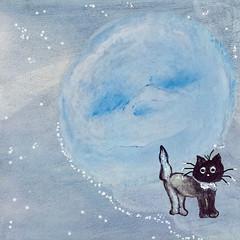 BLUE MOOOOOOON (Cabinet of Old Secret Loves) Tags: blue original sleeping moon white black art love fairytale cat stars design graphic annabelle ghost tuxedo whimsical oainting mooooooon society6
