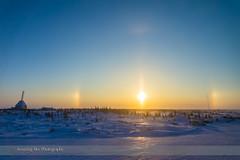 Sundogs Around the Setting Sun (Amazing Sky Photography) Tags: snow canada alberta parhelia sundogs solarhalo churchillrocketrange churchillnorthernstudiescentre