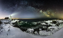 Breaking Twilight (Adam Woodworth) Tags: winter panorama lighthouse snow ice night stars twilight maine newengland astrophotography seacoast portlandheadlight lightpollution milkyway capeelizabeth cascobay