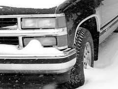 winter driving (frankieleon) Tags: auto snow cold chevrolet truck frozen automobile driving freezing pickup headlights tires chevy silverado 1500 v8 hazard goodyear temperatures snowtires winterdriving winterize srated