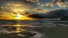 Sunshine and rain (kevinmcnair) Tags: scotland fife elieandearlsferry elie earlsferry riverforth drillingrigs sunset rain