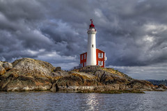 Fisgard Lighthouse (Paul Rioux) Tags: morning lighthouse storm reflection water clouds rocks waterfront outdoor britishcolumbia scenic victoria vancouverisland fisgard nationalhistoricpark colwood westshore fortroddhill