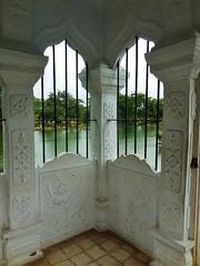 corner views (SM Tham) Tags: asia indonesia bali island karangasem amlapura tamanujong waterpalace gardens gardenstosee bridge pavilion gazebo building windows view water pond trees columns plaster decorations