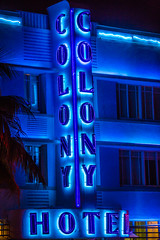 The Nights and Lights of South Beach (Thomas Hawk) Tags: blue usa architecture hotel neon unitedstates florida fav50 miami unitedstatesofamerica miamibeach southbeach colonyhotel fav10 fav25